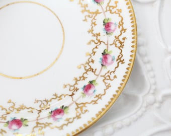 PLATE, Bone China, High Tea Party, Farmhouse Table, Rose and Gold Pattern, Gifts for Her