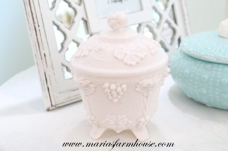 FOOTED BOWL with Lid Mid Century Pink Milk Glass by Jeanette image 0