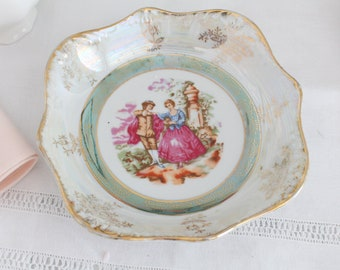 BOWL, Porcelain, Opalescent by Arnart Imports, Inc., Japan, Fragonard Inspired, Courting Couple, Replacement China