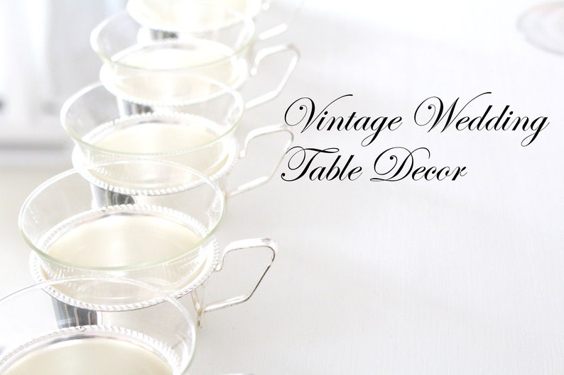 BRIDAL SHOWER FAVORS Glass Tea Cups with Silver Plated image 0