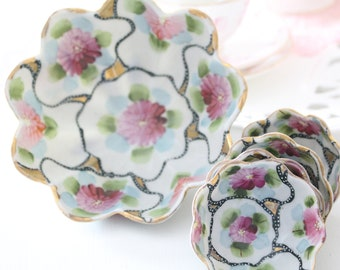 FOOTED BOWL with Diminutive Footed Bowls, Porcelain, Hand-Painted by Nippon, Gifts for Him or Her