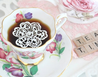 TEACUP & SAUCER, English Bone China by Royal Standard, Fair Lady Pattern, Gifts for Her, Tea Party