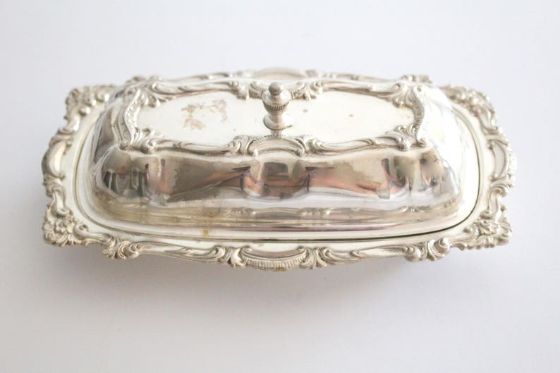 Vintage Inspired Wedding Table Silverplated Ornate Butter Dish with Cover Vintage BUTTER DISH