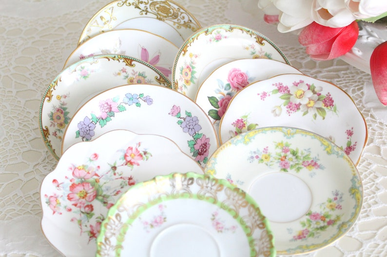 BRIDESMAID GIFTS Saucers Medley Mismatched Saucers Set of image 0