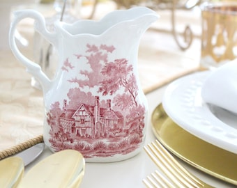 CREAMER, ENGLISH by Alfred Meakin, English Ironstone, Romantic England Pattern, Herefordshire, Transferware, Replacement China, Farmhouse