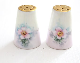 SHAKERS, SALT & PEPPER, Porcelain by Limoges, Hand-Painted, Farmhouse Table, Housewarming Gift Inspiration