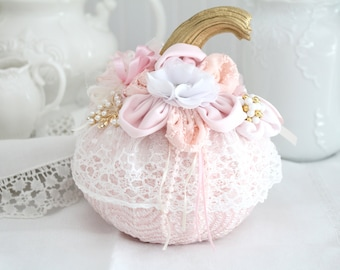 PUMPKIN, Hand-Decorated, Fabric Pumpkin with Lace, Chiffon Flowers and Faux Gold Stem, Shabby Chic, Autumn Décor, Gifts for Her