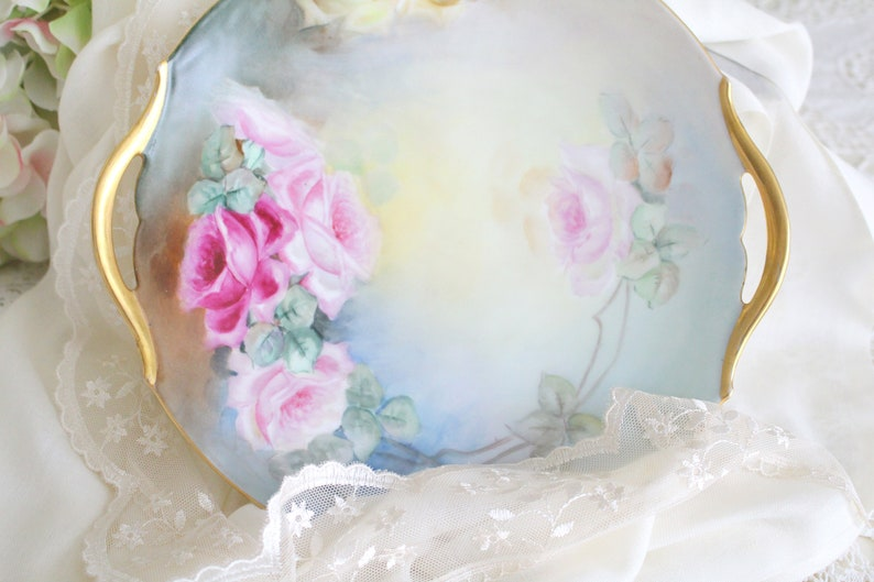 ANTIQUE PORCELAIN CAKE Plate Artist Signed Hand Painted by image 0