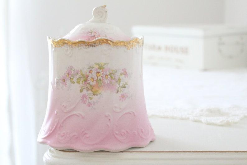 ANTIQUE BISCUIT Porcelain Jar Embossed Detail Housewarming image 0