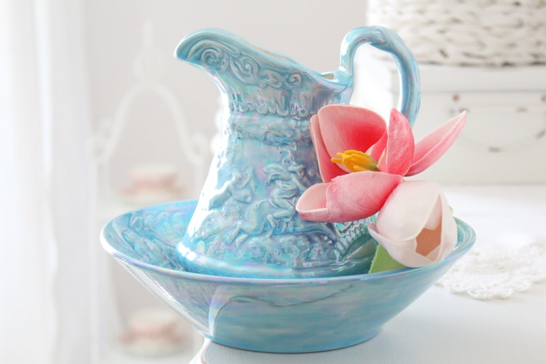WEDDING TABLE DECOR Iridescent Pitcher with Basin Pottery image 0