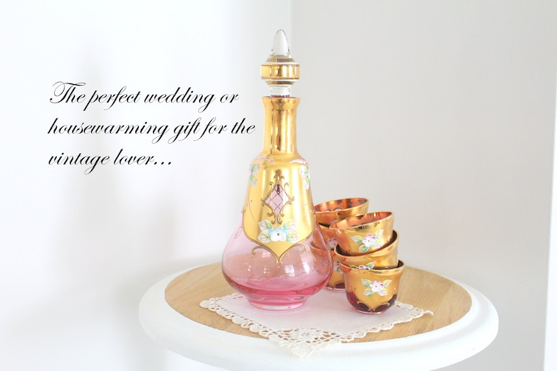 WEDDING TABLE Hand Painted Decanter with Cordial Glasses Set image 0