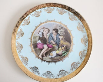 DECORATIVE, WALL Hanging Plate by JKW, Josef Kuba, West Germany, Gifts for Her, Porcelain - ca. 1940s