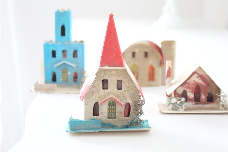 ORIGINAL MICA PUTZ Bohemian Cardboard Village Houses Set of image 0