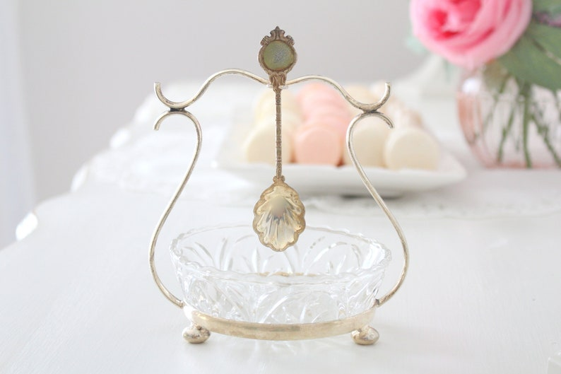 CONDIMENT BOWL Silver-Plated Footed Carrier with Clear Glass image 0