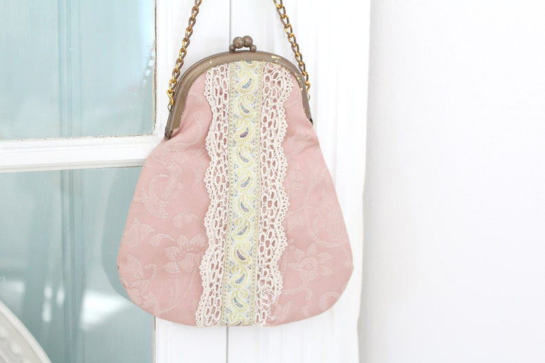 VICTORIAN PURSE Dusty Rose Purse Gifts for Her Collectible image 0