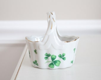 TRINKET BASKET, Porcelain, Shamrock Pattern by Lefton China, Hand-Painted, Gifts for Her, Hostess, Housewarming Gift, Vanity Décor