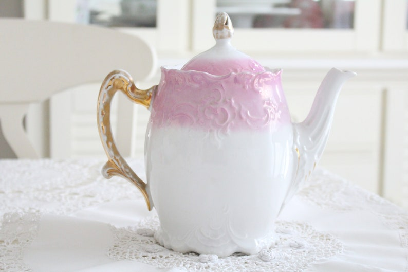 ANTIQUE LARGE TEAPOT Embossed Design Gifts for Her Wedding image 0