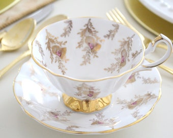 TEACUP & SAUCER, English Fine Bone China, Footed, Wide Mouth Cup by Queen Anne, Replacement China - ca. 1959 - 1966