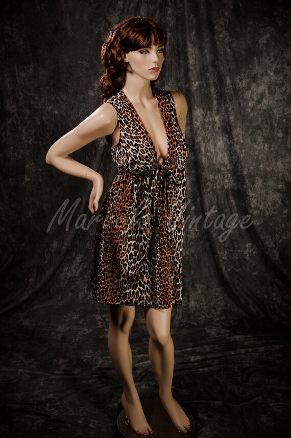 Vintage Vanity Fair Nightgown Leopard Print Linger