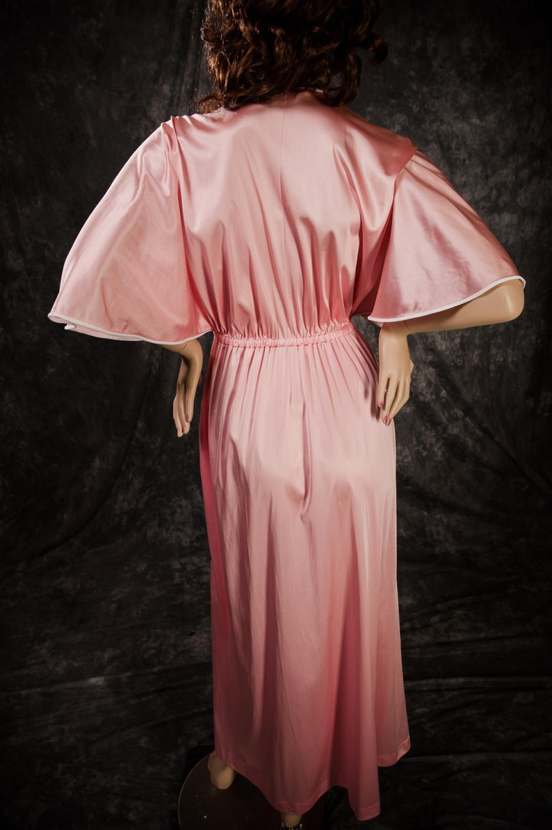 Vintage Vanity Fair Dressing Gown Robe Loungewear Pink White 70/'s Size Small