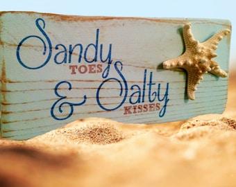 Sandy Toes & Salty Kisses Starfish Rustic Beach Wood Sign