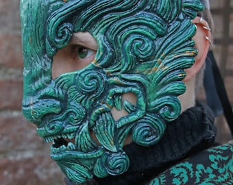 MADE TO ORDER - Jade Oni mask japanese demon ogre beast tiger cosplay larp renaissance samurai cyberpunk tyger claws yokai hannya fantasy