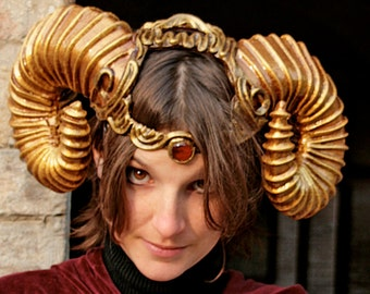 MADE TO ORDER -  horns  fantasy larp sciaman gold costume steampunk demon devil fantasy renaissance burning man