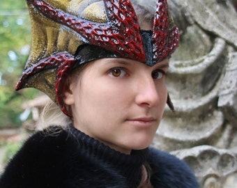 MADE TO ORDER - dragon horn fantsy larp d&d costume tiara headpiece black gold medieval demon wiccan viper serpent druid elf