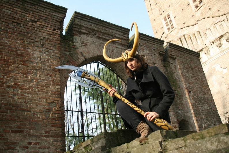 Loki Scepter Loki Horn Made To Order Gold Staff H Etsy