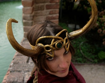 MADE TO ORDER - lady loki - gold horns fantsy larp d&d costume tiara head green medieval demon lord bull wiccan leather druid elf