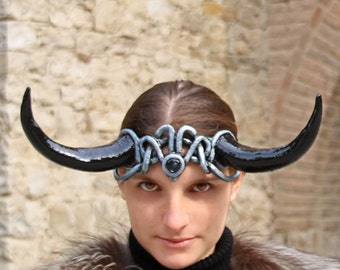 MADE TO ORDER - headdress Fantasy Pagan wiccan burning man renaissance black horns gothic larp demon devil costume tiara