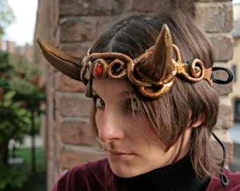 MADE TO ORDER - headpiece Fantasy Pagan wiccan burning man renaissance gold red larp demon devil horn costume tiara