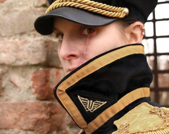 MADE TO ORDER - Warhammer commissar cap hat imperial guard astra militarum Yarrik Gaunt velvet faux leather embroidery cosplay larp uniform