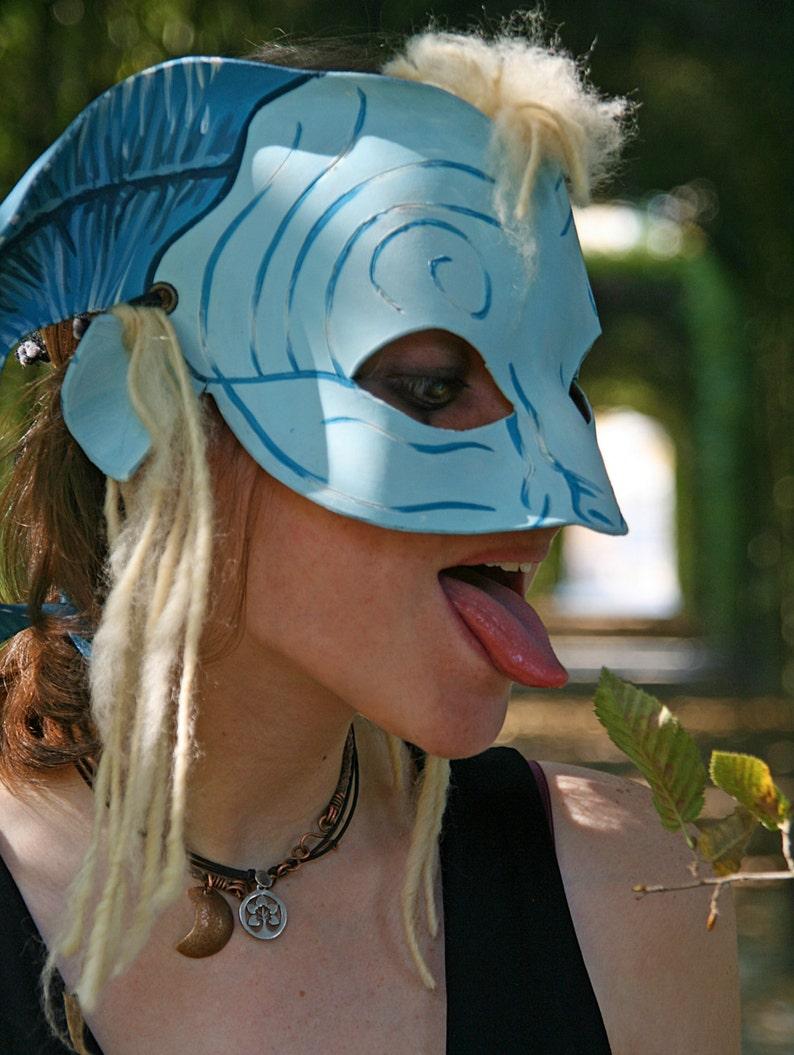 Pan/'s Labyrinth cosplay leather Mask Fantasy Larp Pagan costume wicca pagan druid shaman yule burning man renaissance blue READY TO SHIP