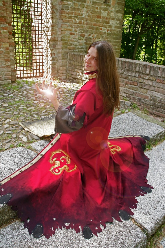 READY TO SHIP larp cosplay little red riding hood Fantasy Renassaince Pagan Winter wiccan gold medieval fable fairy tales wizard magician