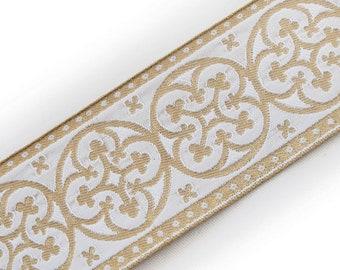 2/¼ Vestment Jacquard Trim Pugin Cross Gold on Royal Blue Gothic Trefoil 3 Yds