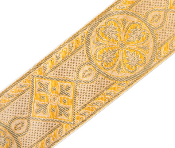 Very Wide Chasuble Trim Jacquard Gold /& Rose