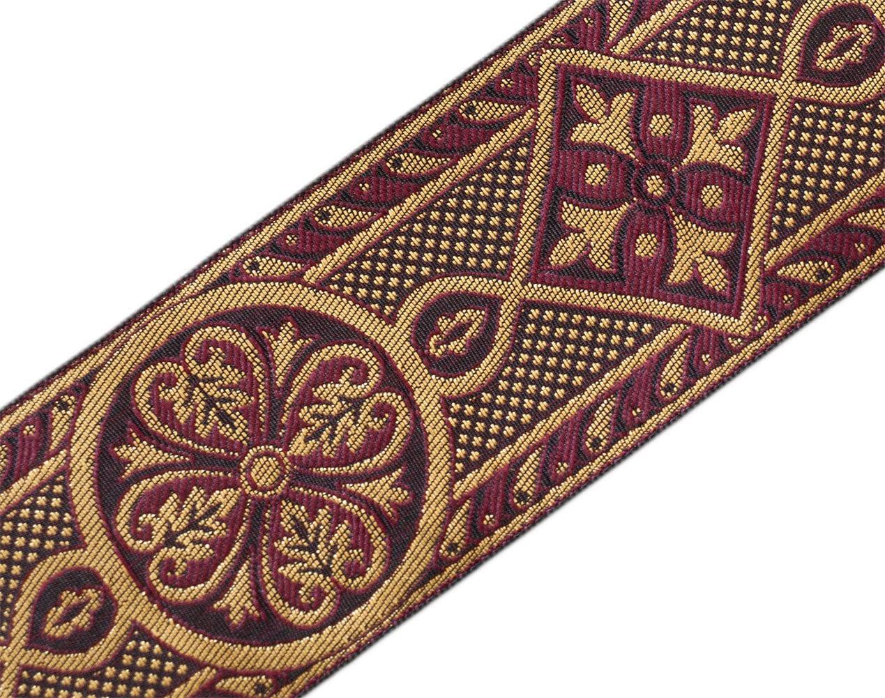 3 yards Chasuble Jacquard Jacquard Chasuble vêtement garniture Bordeaux or 2 3/8