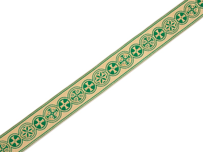 Medieval Crosses in Circle Church Vestment Trim 1.5 Wide Green on Gold 5 Yards