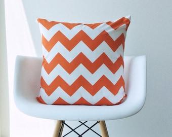 Orange chevron pillow cover 18 x 18 modern bold White zig zag Riley Blake Handmade cotton Home Decorative ONE