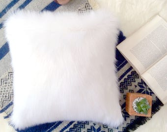 Ivory Fur pillow cover 22 X 22 fluffy