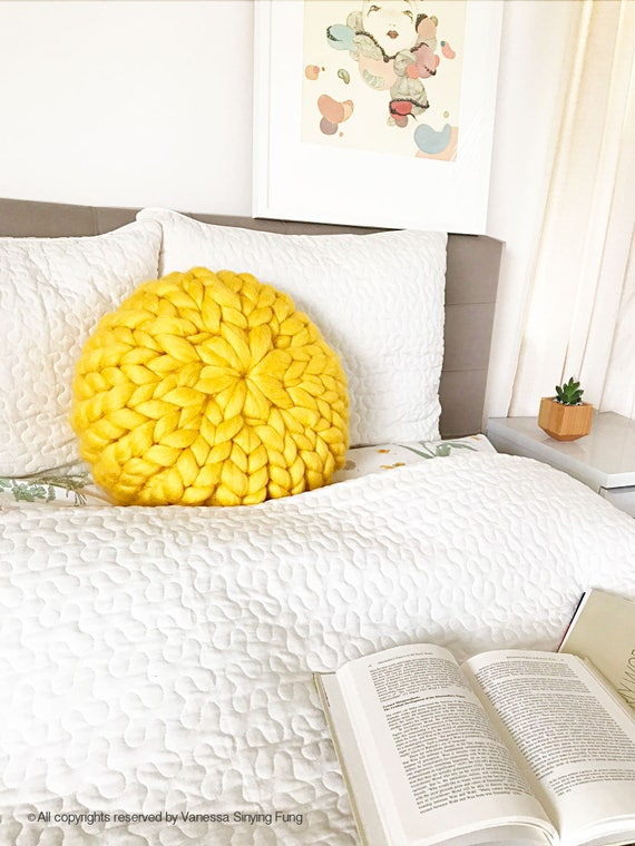 Yellow Round Chunky Knit Pillow Wool Knit Pillow Merino Etsy Mesmerizing Round Yellow Decorative Pillow