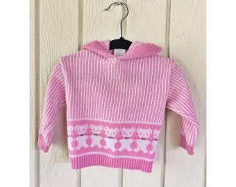 Pink Vintage 1980s  Dr Denton s  Bear Baby Hooded Sweater. Size 9M 9399baba6