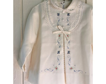 1930s Off-White Toddler/Baby Girls Blue Embroidered Dress // Size 18M-2T