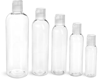 4 oz Plastic Bottles, Clear PET Cosmo Round Bottles With Smooth Natural Disc Top Cap or Spray Mist