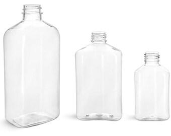 4 oz Plastic Bottles, Clear PET Oblong Bottles with Natural Disc Top Caps