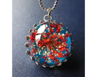 Resin Real Flower Jewelry Red Real Flower Necklace Eco Resin Vintage Style Victorian Queen Anne's Lace Pressed Flower Botanical Jewelry