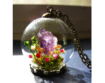 Crystal  Miniature Terrarium Raw Amethyst pendant Terrarium necklace Miniature garden Real flower Gemstone February birthstone Price reduced