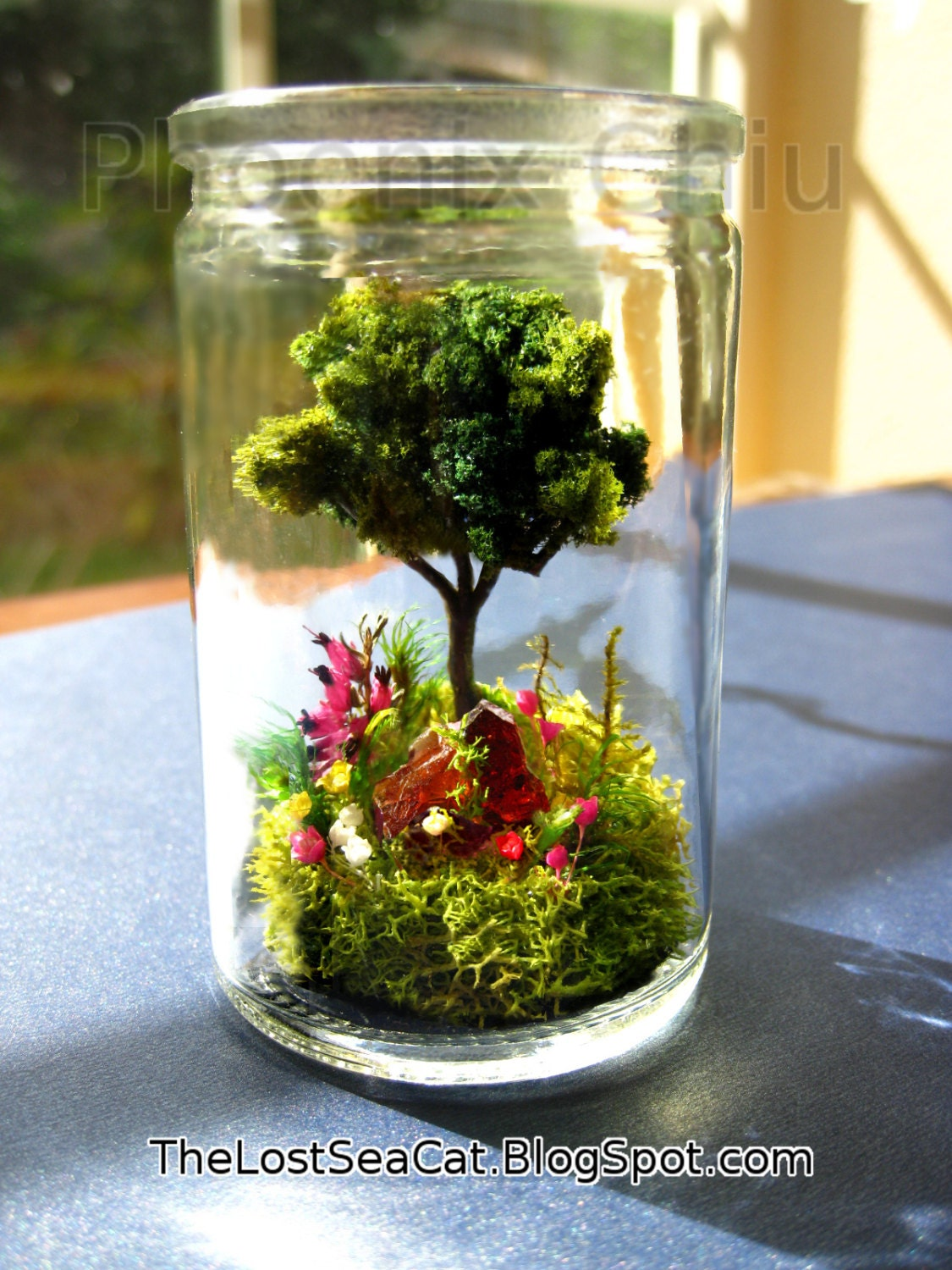 tree terrarium tree of life glass terrarium fern moss gemstone etsy. Black Bedroom Furniture Sets. Home Design Ideas