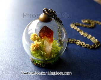 On Sale Price reduced Terrarium necklace Raw Citrine pendant Crystal Miniature Terrarium Real moss Gemstone jewelry November birthstone